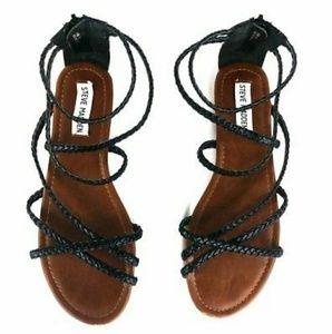 Steve Madden Kammi Braided Gladiator Sandals Black